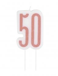 Tårtljus rosaglittrig 50 år 7 cm