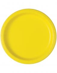 20 Små runda gula tallrikar 18 cm