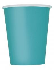 8 Turkosfärgade pappmuggar 266 ml