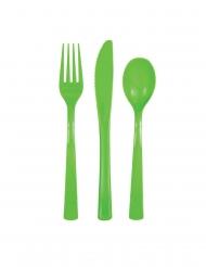 18 Limegröna plastbestick