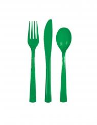 18 smaragdgröna engångsbestick