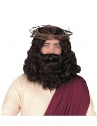Lyxig mörk jesusperuk med skägg