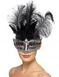 Grå venetiansk mask med svarta fjädrar vuxen