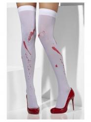 Vita knästrumpor med blodfläckar dam
