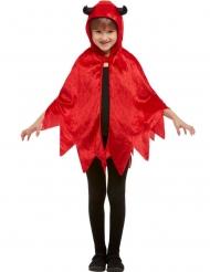 Glansig röd mantel med horn och luva barn