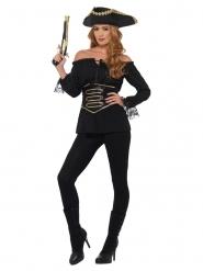 Lyxig svart pirattröja dam