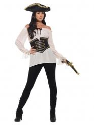 Lyxig vit piratskjorta dam