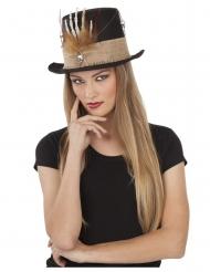 Svart hatt med skeletthand vuxen
