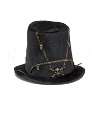 Läskig hög hatt med dödskallar