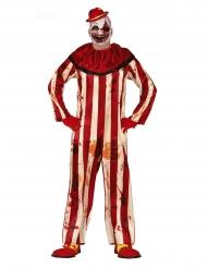 Skrämmande rödvitrandig clowndräkt herr
