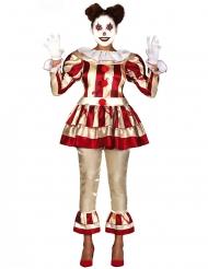 Skräckinjagande rödvit clowndräkt dam