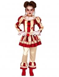 Läskig rödvit clowndräkt barn