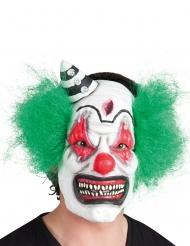 Skräckinjagande clownmask med grönt hår vuxen