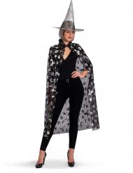 Svartsilvrig hatt och Halloweenmantel dam