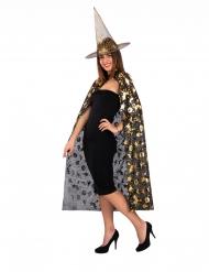 Häxtillbehör hatt och mantel svart & guld dam