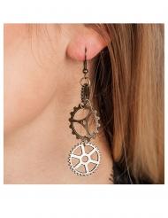 Steampunk örhängen med kugghjul vuxen