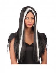 Lång svartvit peruk vuxen