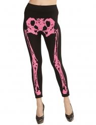 Damleggings med rosa skelett