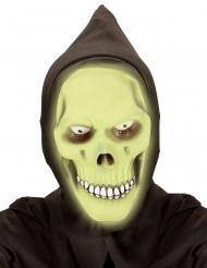 Självlysande grön dödskallemask med huva vuxen