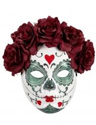 Dia de los Muertos-mask med vinröda rosor vuxen