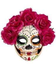 Dia de los Muertos-mask med röda rosor vuxen