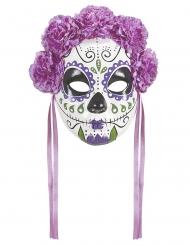 Dia de los Muertos lila mask med violer vuxen