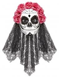 Dia de los Muertos mask med slöja vuxen