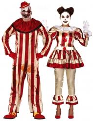 Läskiga clowner pardräkt vuxen