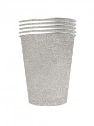 10 Glittrigt silvriga återvinningsbara pappmuggar 53 cl