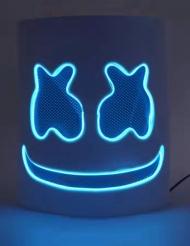 Blå LED-marshmallow vuxenmask