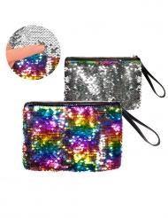 Handväska med silvriga och regnbågsfärgade paljetter