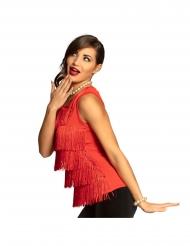 Rött linne med fransar dam