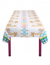 Vit bordsduk med lamadjur 130x180 cm