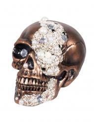 Bronsfärgad dödskalle med fejkjuveler 16x15x21 cm