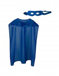 Blå superhjältemask och mantel vuxen