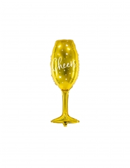 Guldfärgad aluminiumballong champagneglas 28x80 cm