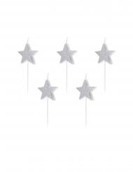 5 Tårtljus med silvriga stjärnor 3,5 cm