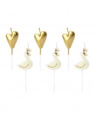 6 Tårtljus med svanar och hjärtan i gulfärg 3,5-4 cm