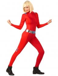 Häftig röd spiondräkt dam
