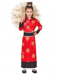 Asiatisk röd dräkt flicka