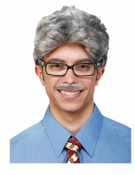 Grå peruk och mustasch vuxen