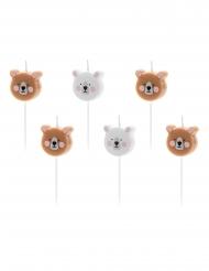 6 Tårtljus bruna och vita björnar 3 cm