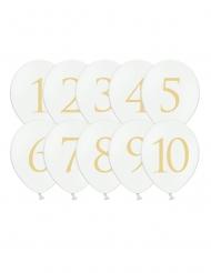 10 Vita latexballonger med guldsiffror 1-10 30 cm