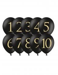 10 Latexballonger med siffrorna 1-10 i guld och svart 30 cm