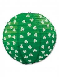 Grön papperslykta med vit klöver 24 cm