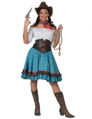 Cowgirl-Catrin blårutig damdräkt