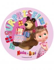 Masha och Björnen™ rosa tårtlock av socker 21 cm