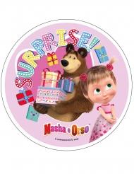 Masha och Björnen™ rosa tårtlock av stärkelse 21 cm