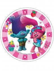 Trolls™ rosa tårtlock av stärkelse 21 cm