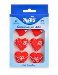 6 Röda hjärtformade sockerdekorationer 3 cm